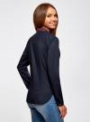 Рубашка базовая с нагрудным карманом oodji для женщины (синий), 11403205-10/26357/7945B - вид 3