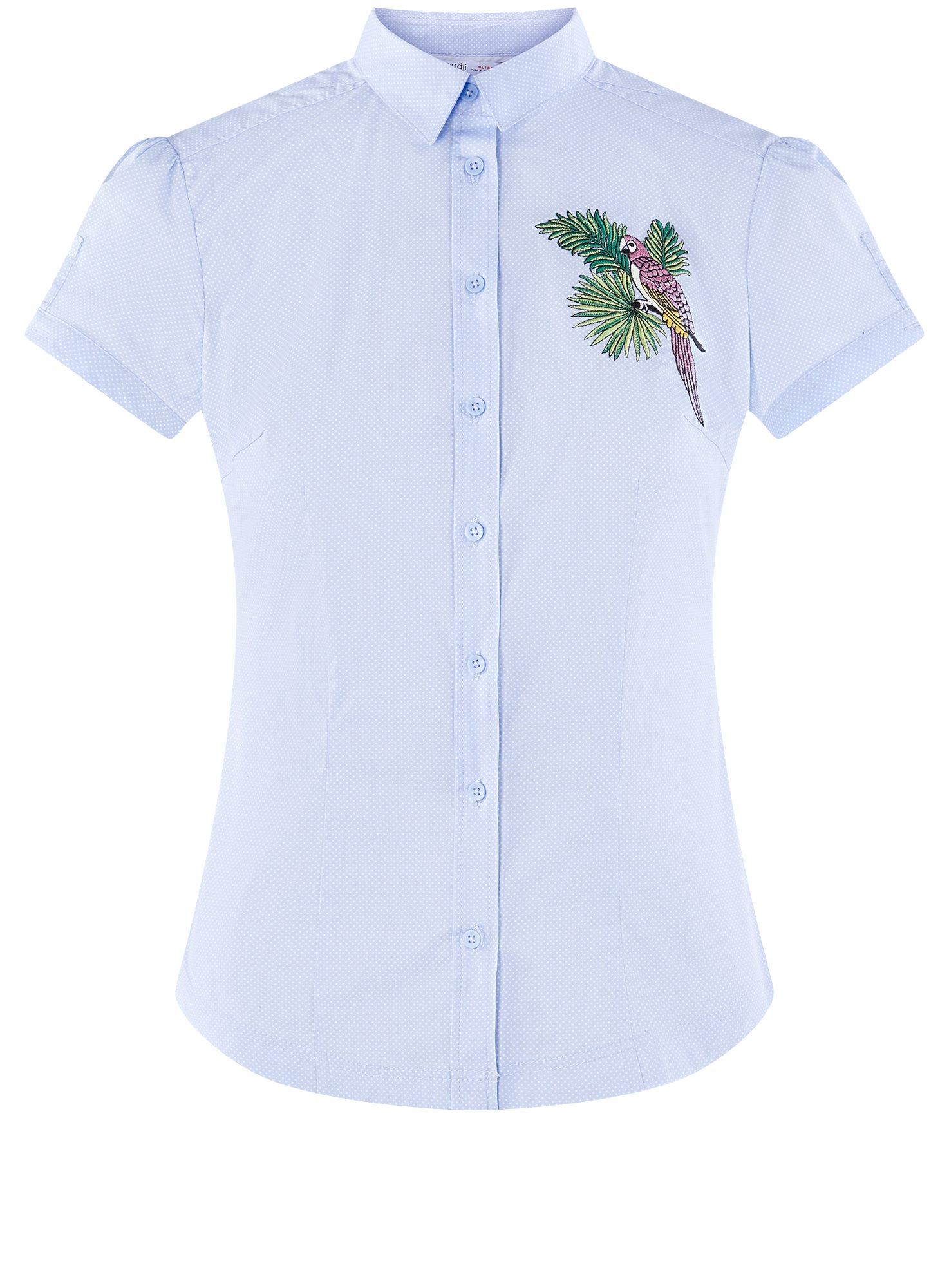 Рубашка хлопковая с вышивкой oodji для женщины (синий), 13K01004-6/14885/7019P