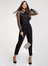 Блузка из прозрачной ткани с вышивкой oodji для женщины (черный), 11301528/49676/2912L - вид 6