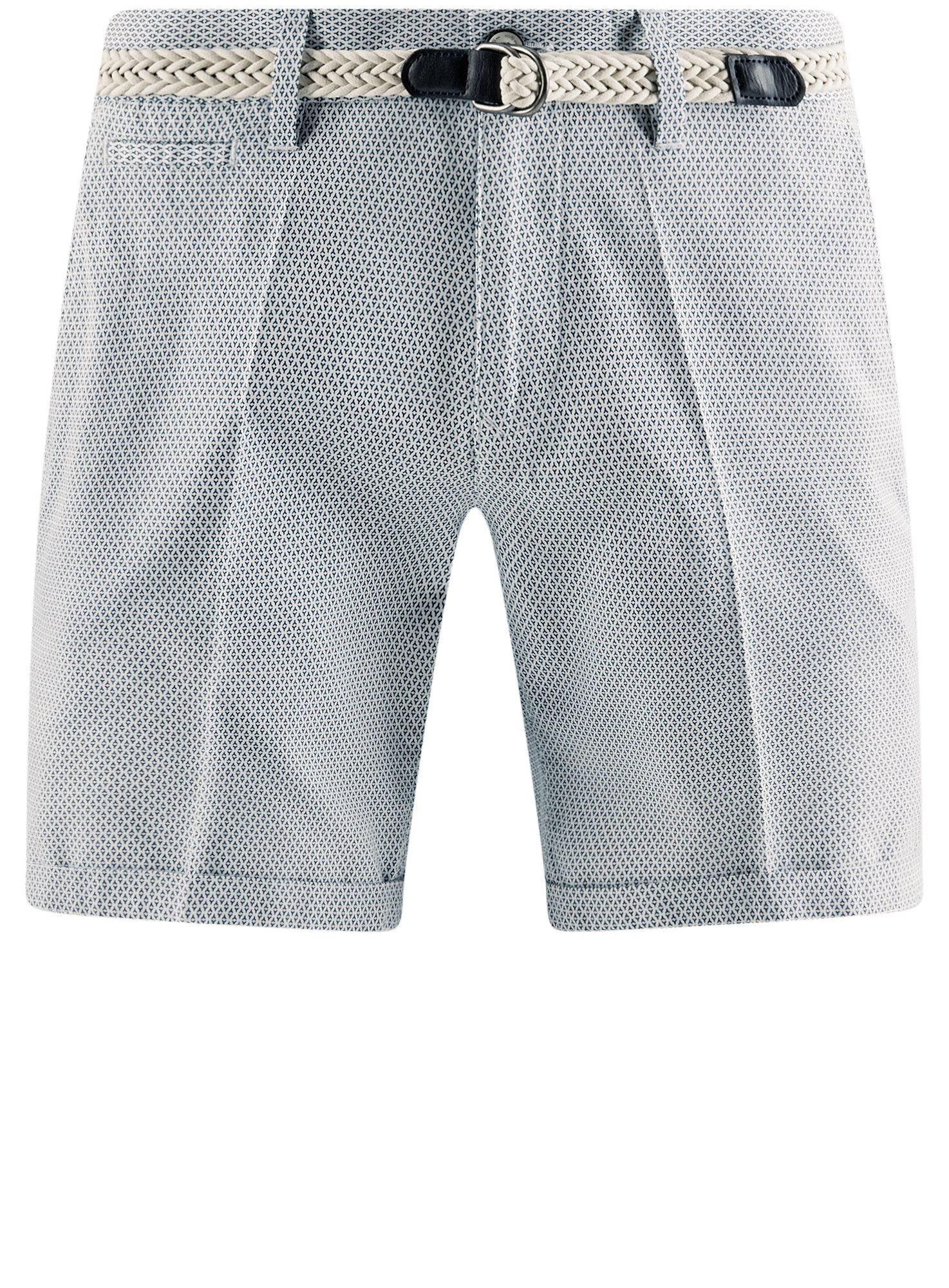 Шорты хлопковые с плетеным ремнем oodji для мужчины (белый), 2L600011M/39344N/1074G