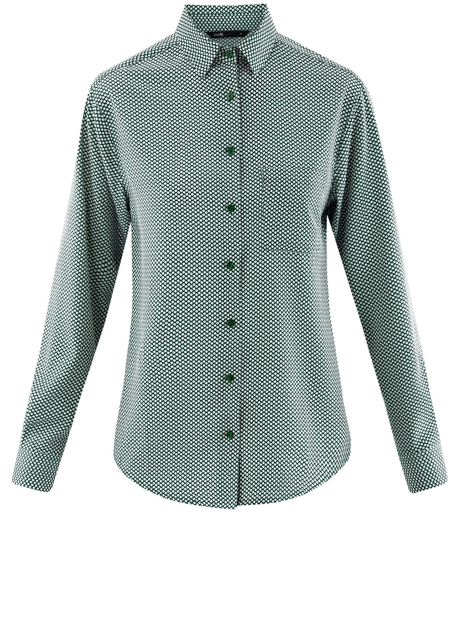 Блузка прямого силуэта с нагрудным карманом oodji для женщины (зеленый), 11411134B/46123/6E12G