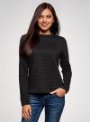 Свитшот из фактурной ткани с молнией на спине oodji для женщины (черный), 14801046-1/45949/2900N - вид 2