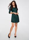Платье трикотажное со складками на юбке oodji для женщины (зеленый), 14001148-1/33735/6E00N - вид 6
