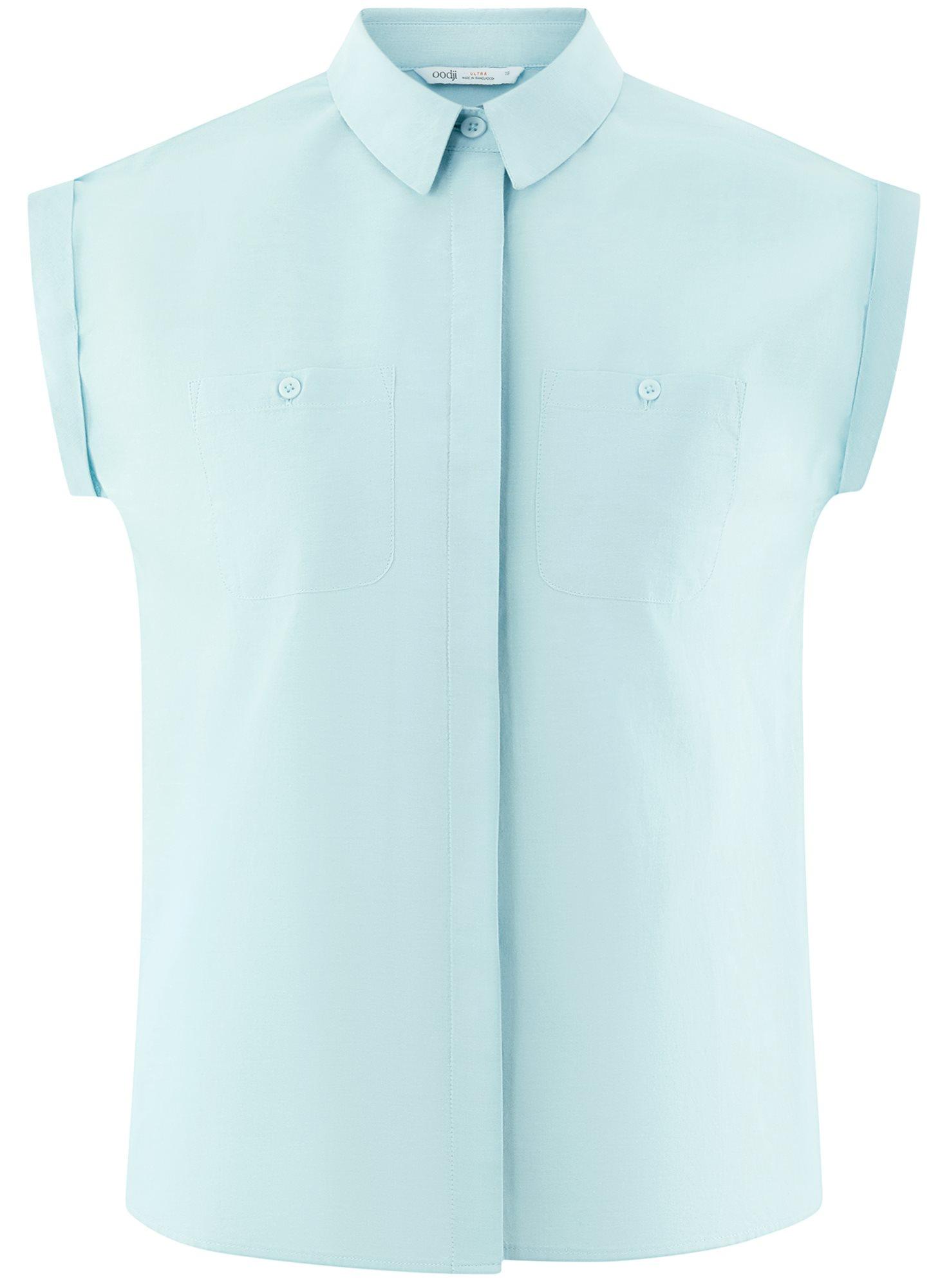 Рубашка хлопковая с нагрудными карманами oodji для женщины (бирюзовый), 13L11008/47730/6500N