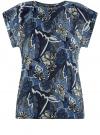 Футболка хлопковая принтованная oodji для женщины (синий), 14707001-17/46154/7530F