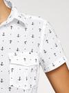 Рубашка хлопковая с нагрудными карманами oodji для женщины (белый), 11402084-3B/12836/1029Q - вид 5
