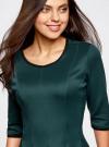 Платье трикотажное со складками на юбке oodji для женщины (зеленый), 14001148-1/33735/6E00N - вид 4