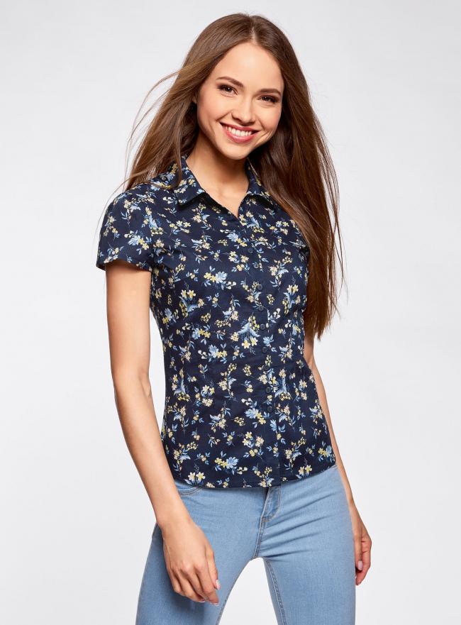 Блузка принтованная из легкой ткани oodji для женщины (синий), 21407022-9/12836/7952F