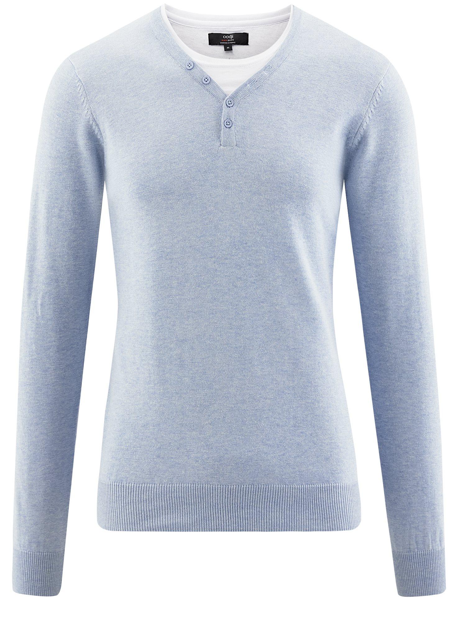 Пуловер с хлопковой вставкой на груди oodji для мужчины (синий), 4B212006M/39245N/7010B