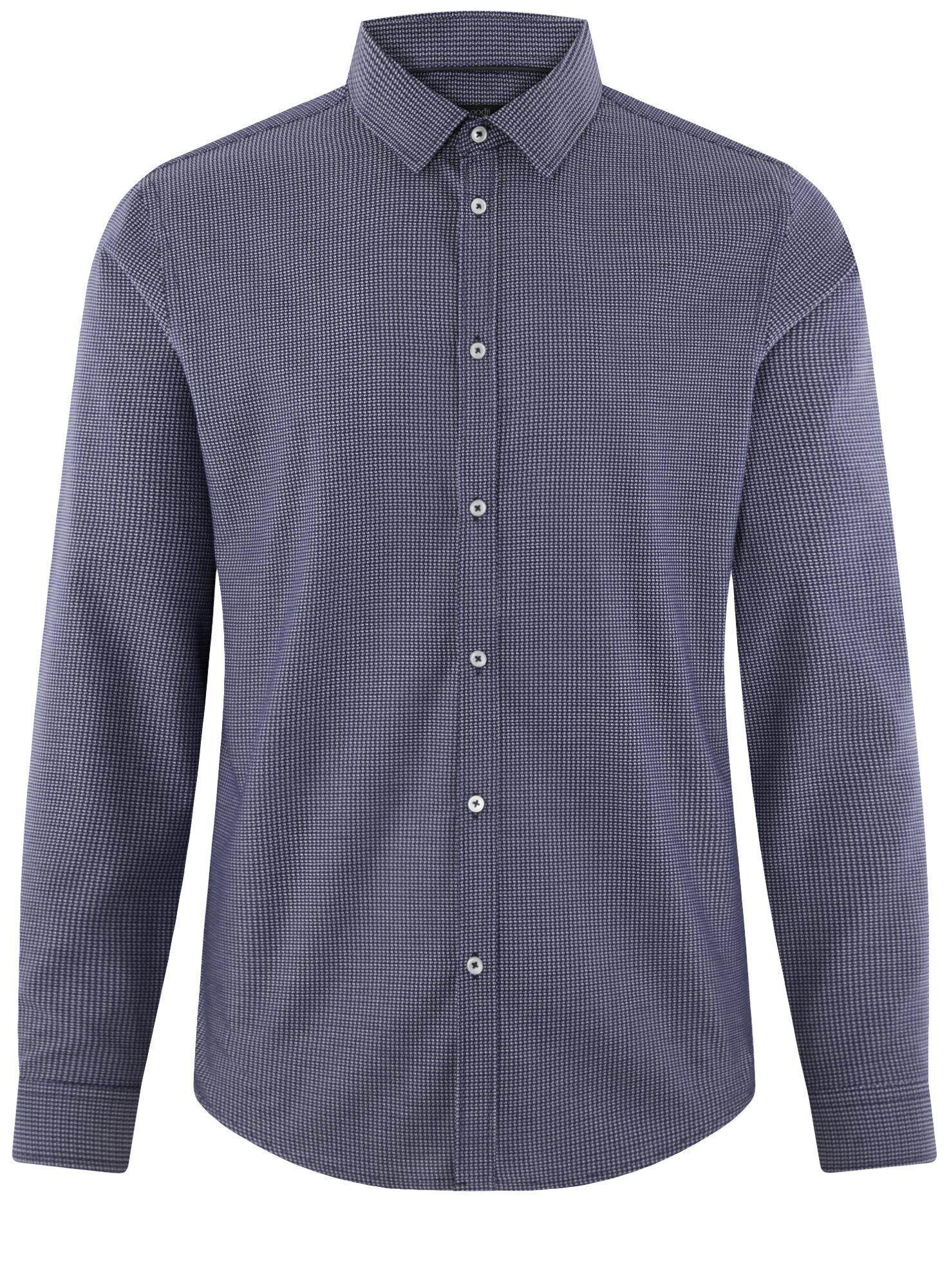 Рубашка приталенная из хлопка oodji для мужчины (синий), 3L110354M/49029N/7910O