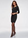 Платье из фактурной ткани с рукавом 3/4 oodji для женщины (черный), 24001100-1/42316/2900N - вид 6