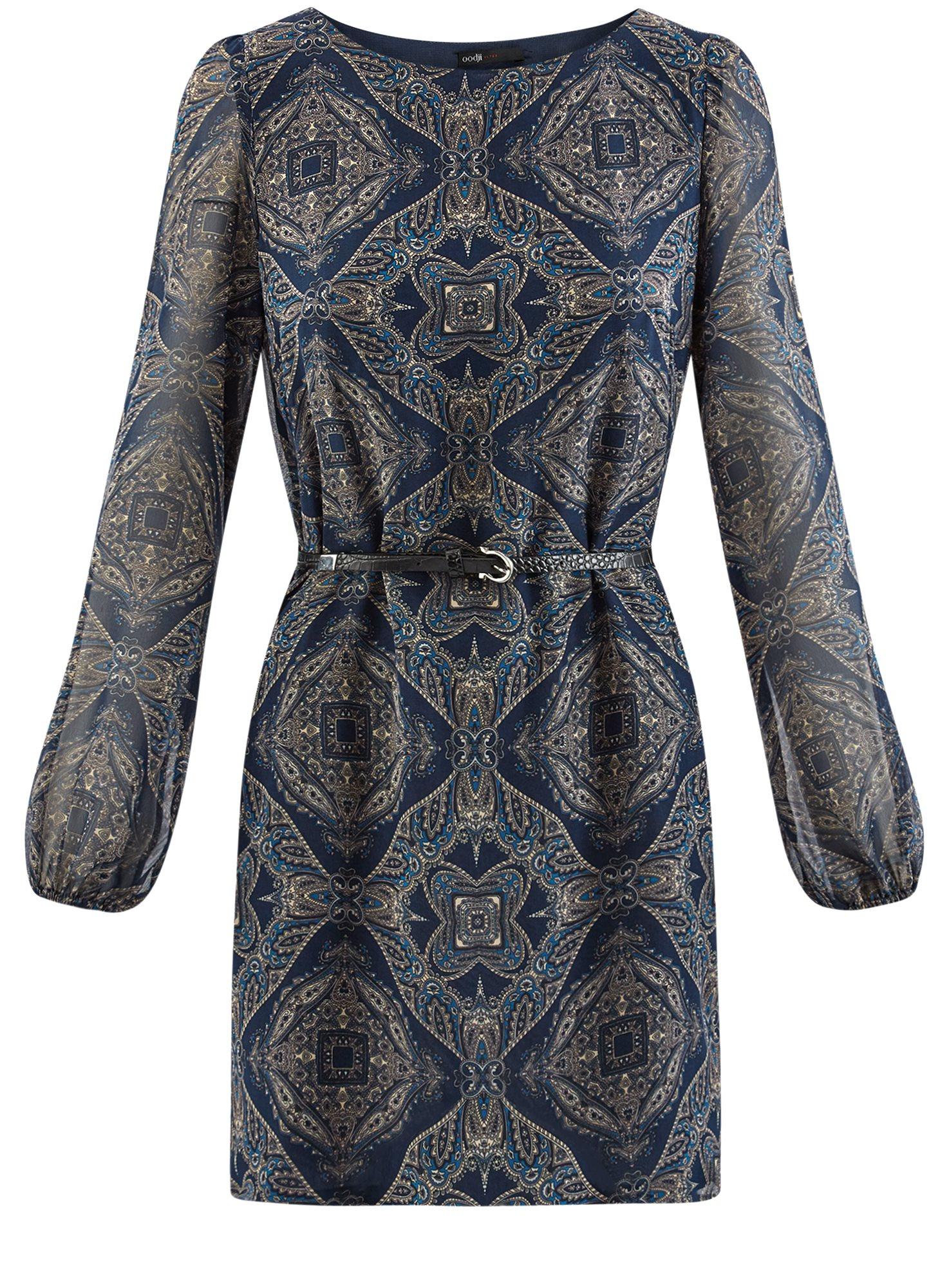 Платье из шифона с ремнем oodji для женщины (синий), 11900150-5/13632/7933E