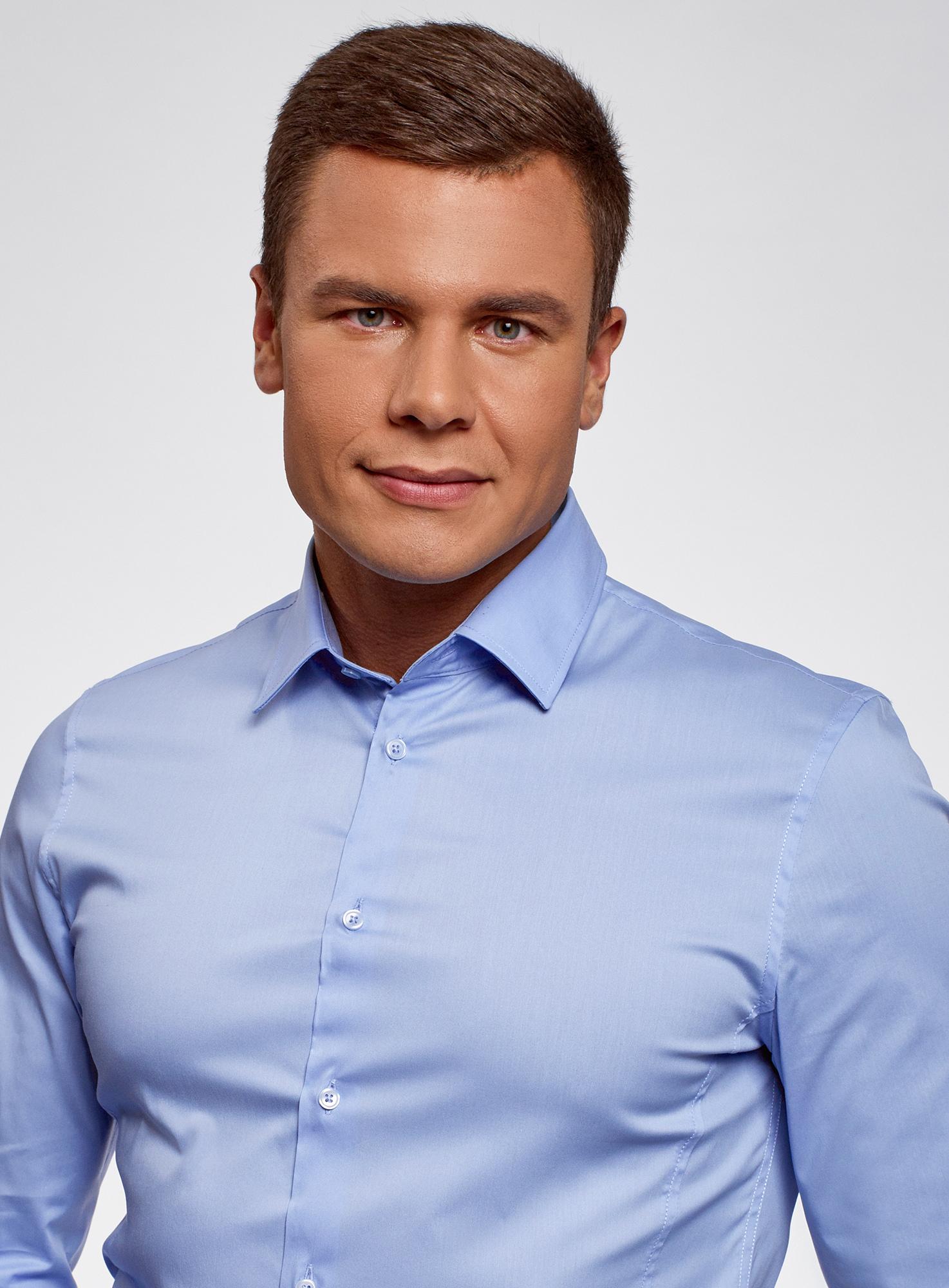Рубашка базовая приталенная oodji для мужчины (синий), 3B140000M/34146N/7000N