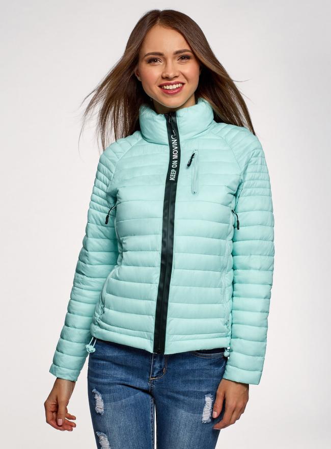 Куртка с рукавами реглан и воротником-стойкой oodji для женщины (бирюзовый), 10207006/33445/7300N