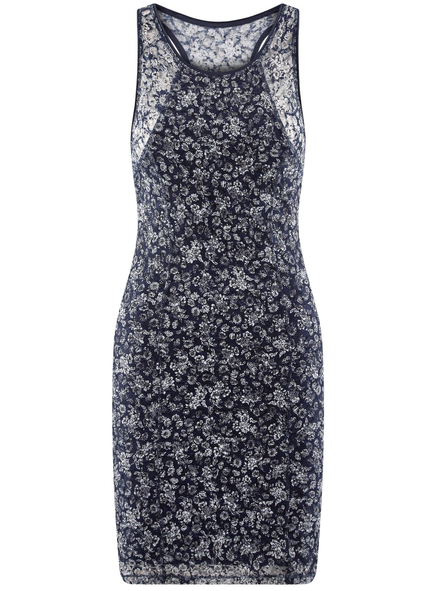 Платье трикотажное без рукавов oodji для женщины (синий), 14005130/42867/7910F