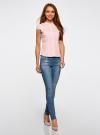 Рубашка с коротким рукавом из хлопка oodji для женщины (розовый), 11403196-1/18193/4000N - вид 6