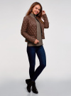 Куртка стеганая с круглым вырезом oodji для женщины (коричневый), 18304005/47048/3900N - вид 6