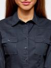 Рубашка базовая из хлопка oodji для женщины (синий), 11442121-5B/43609/7900N - вид 4