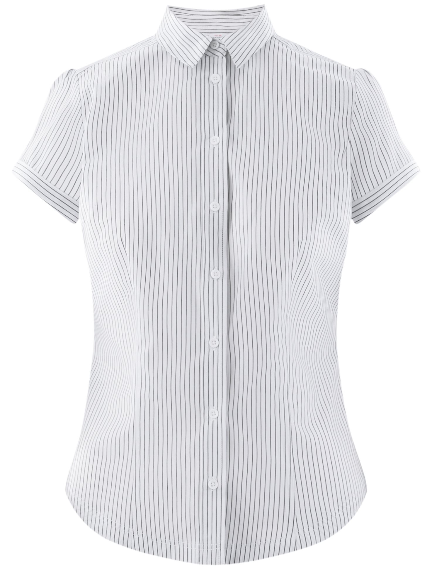 Рубашка хлопковая с коротким рукавом oodji для женщины (слоновая кость), 13K01004B/33081/1025S