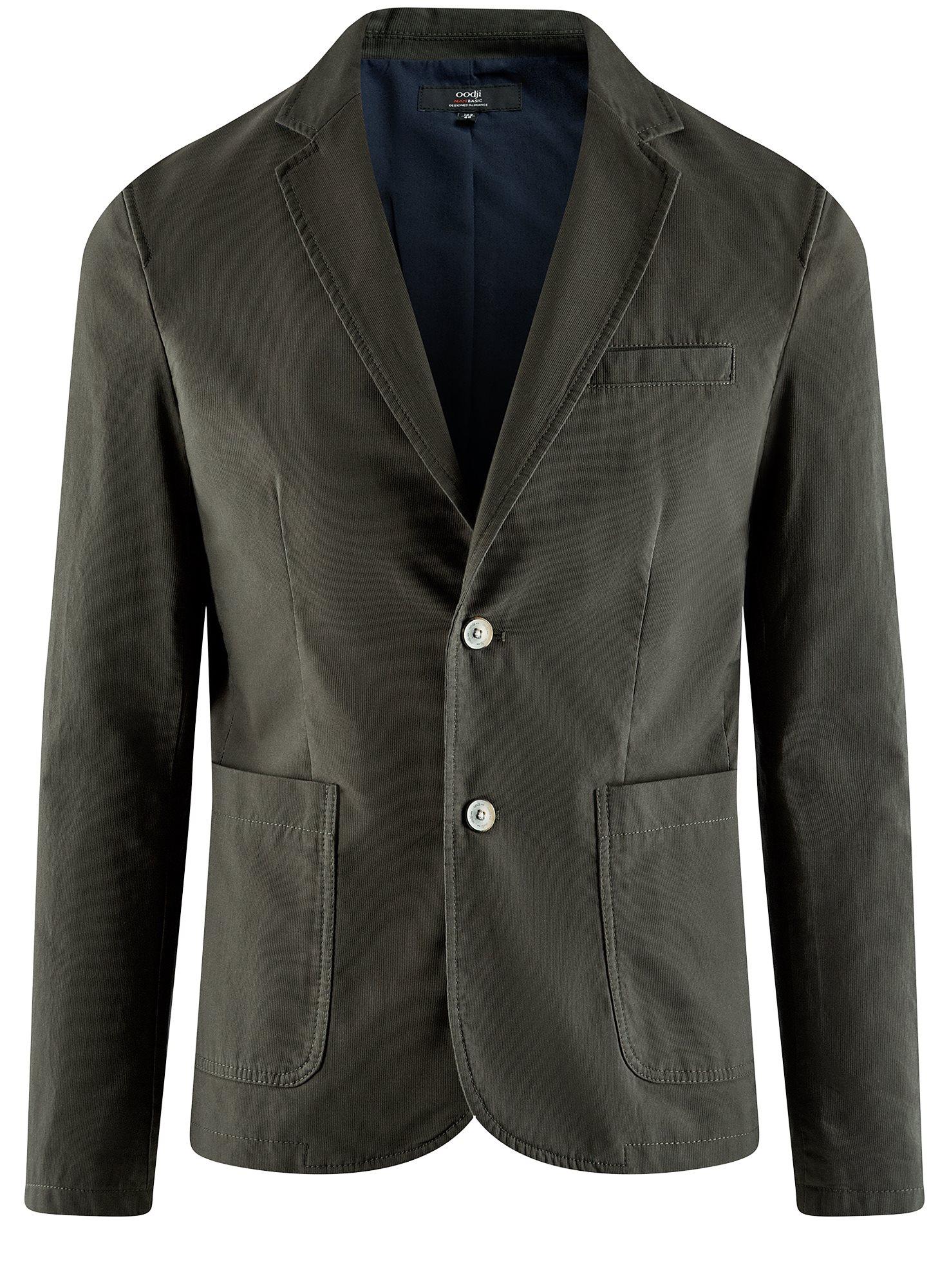Пиджак приталенный с накладными карманами oodji для мужчины (зеленый), 2B510005M/39355N/6600N