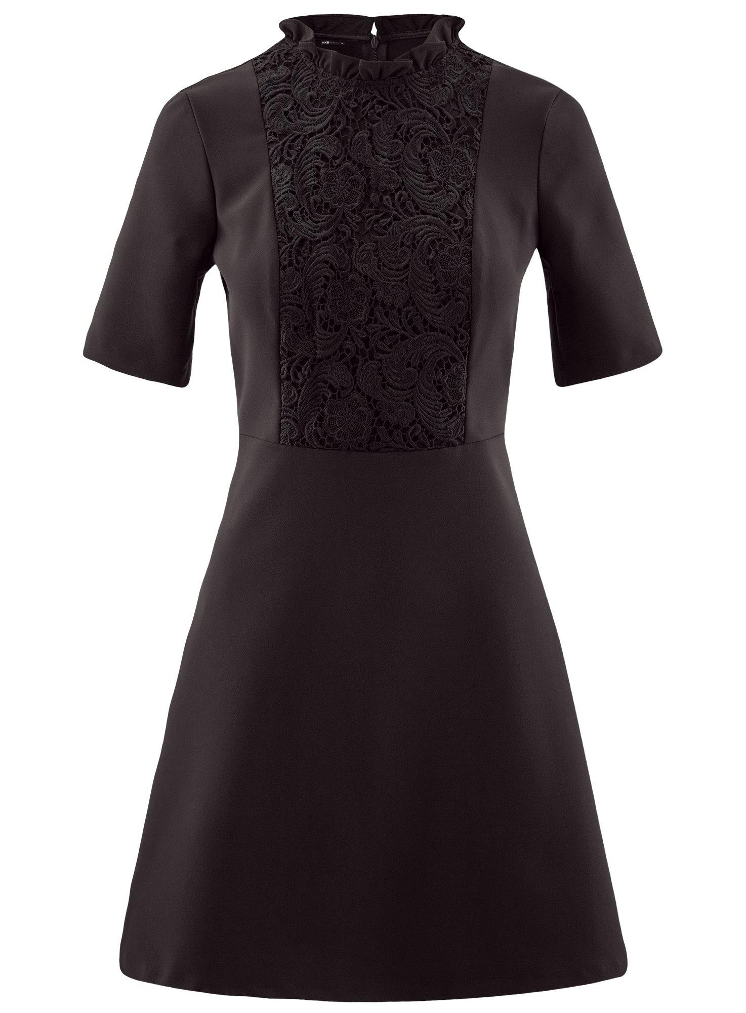 Платье с декоративной отделкой горловины и вставкой из кружева oodji для женщины (черный), 11913033/42250/2900N