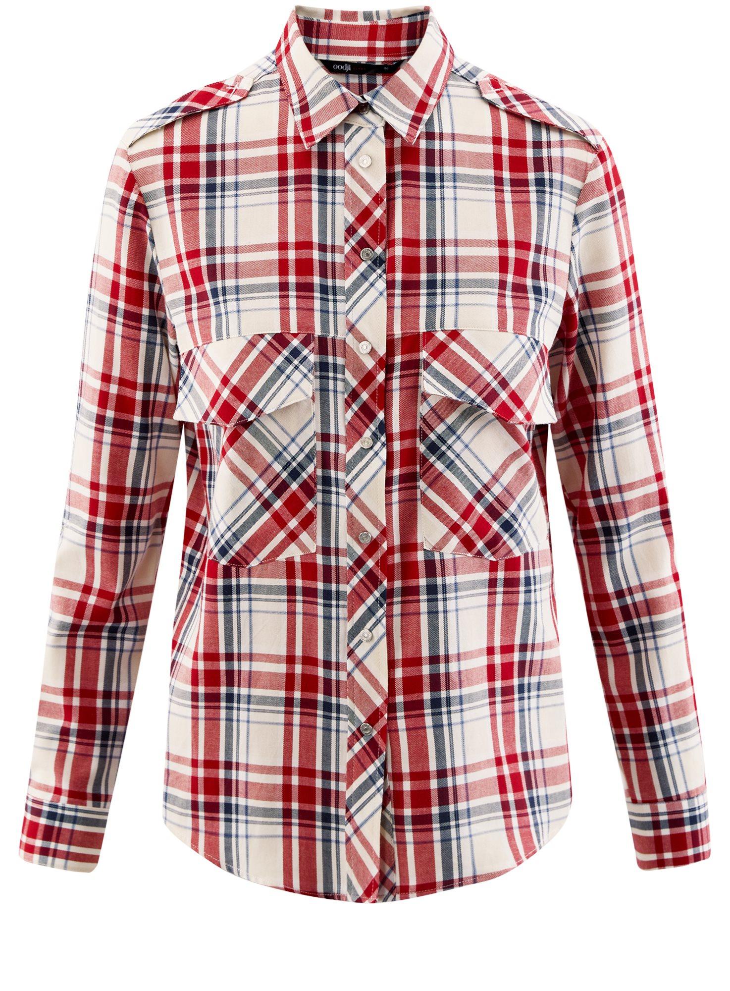 Рубашка в клетку с карманами oodji для женщины (красный), 11411052/42850/4533C
