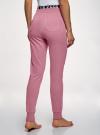 Брюки хлопковые с манжетами oodji для женщины (розовый), 59807057/46151/4A29B - вид 3