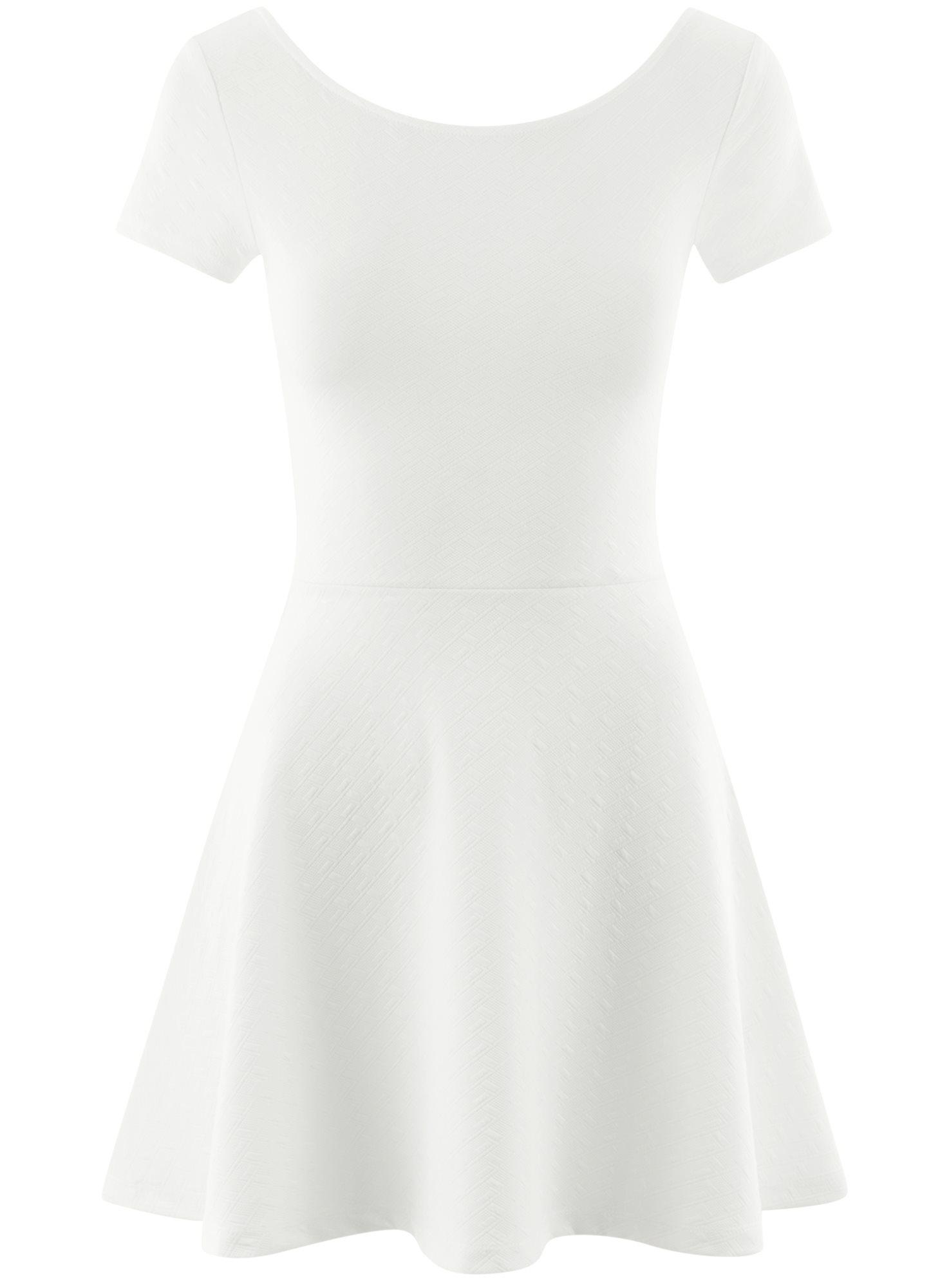 Платье приталенное с V-образным вырезом на спине oodji для женщины (белый), 14011034B/42588/1201N