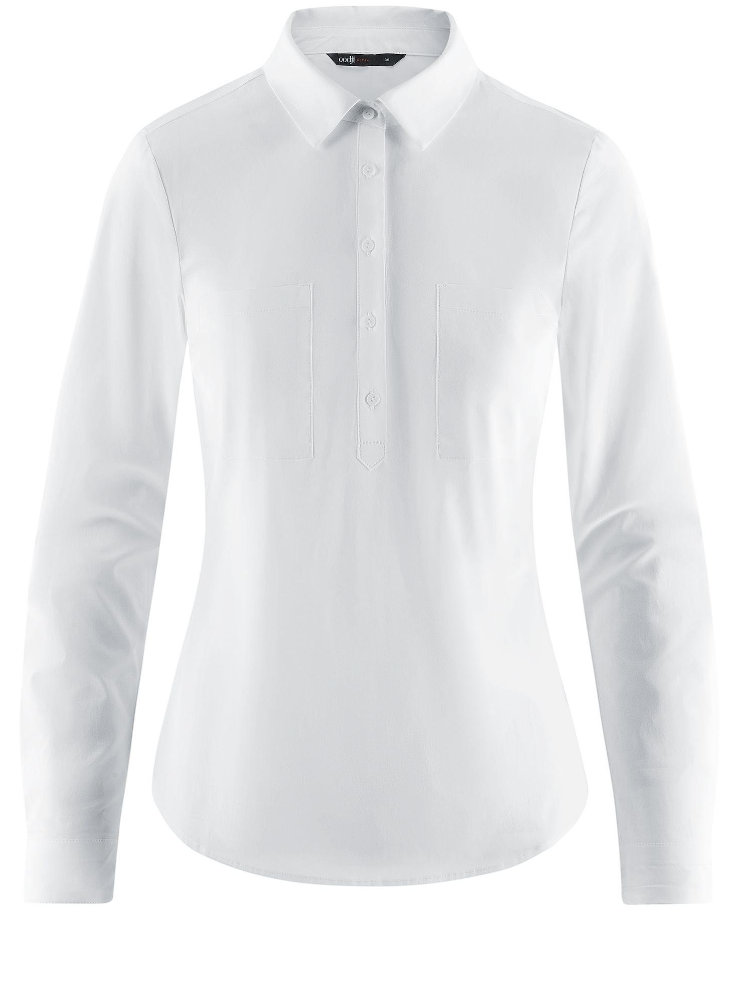 Рубашка базовая с нагрудными карманами oodji для женщины (белый), 11403222B/42468/1000N