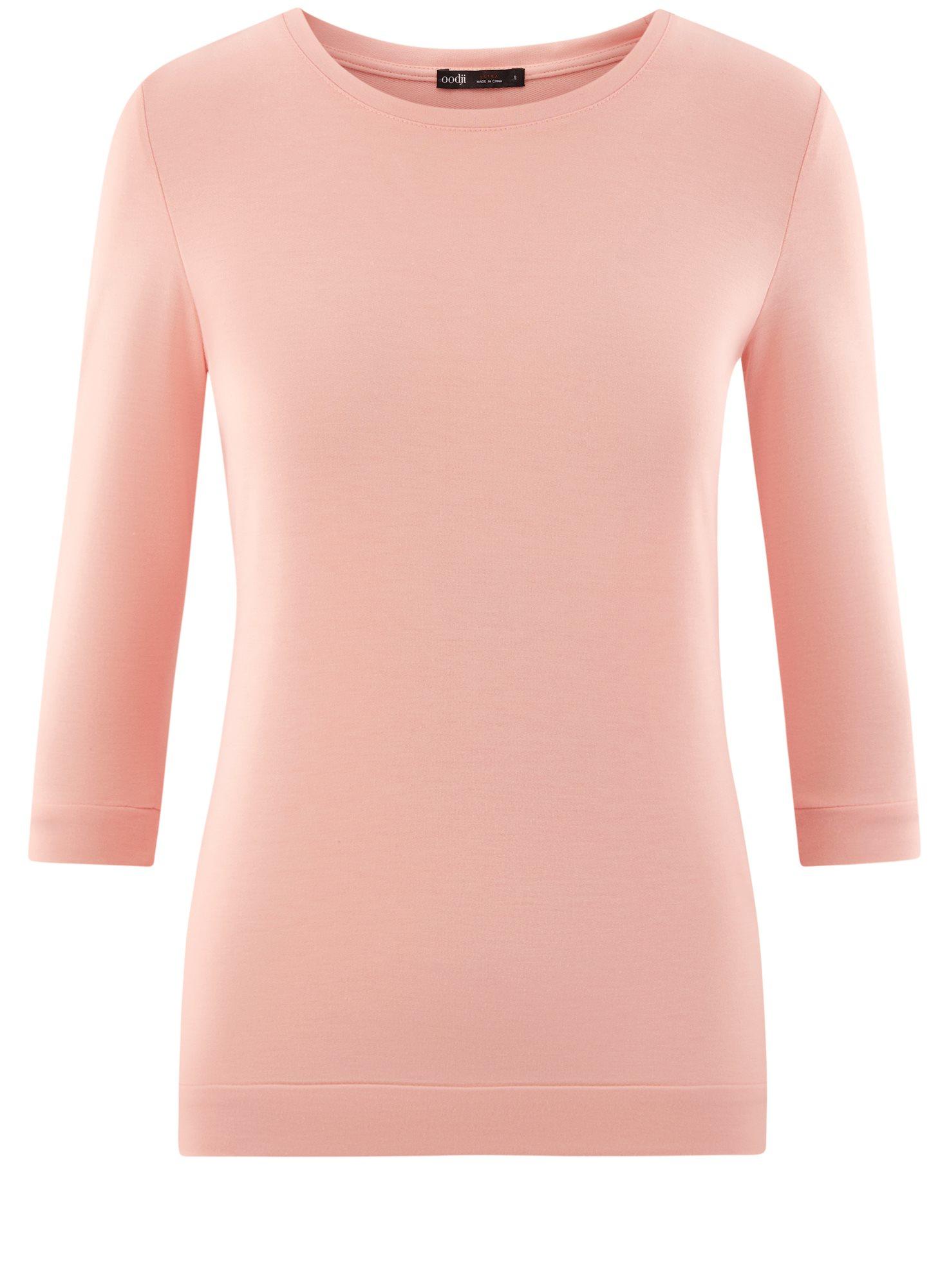 Свитшот базовый с рукавом 3/4 oodji для женщины (розовый), 14801021-3B/45493/4000N