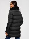 Куртка удлиненная с искусственным мехом на воротнике oodji для женщины (черный), 10203059-1/32754/2901N - вид 3
