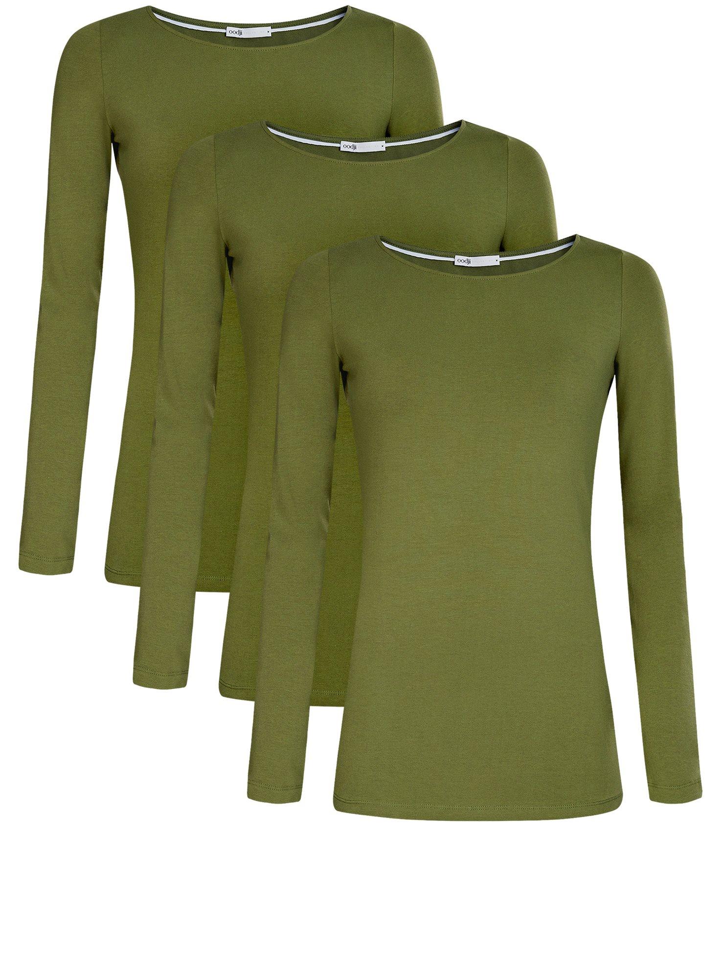 Футболка с длинным рукавом (комплект из 3 штук) oodji для женщины (зеленый), 24201007T3/46147/6900N