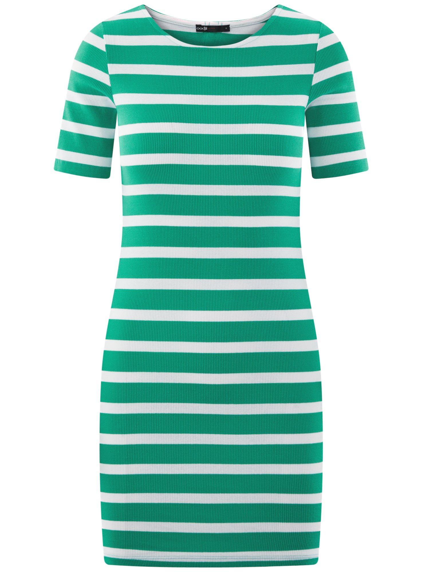 Платье прилегающего силуэта в рубчик oodji для женщины (зеленый), 14011012/45210/6910S