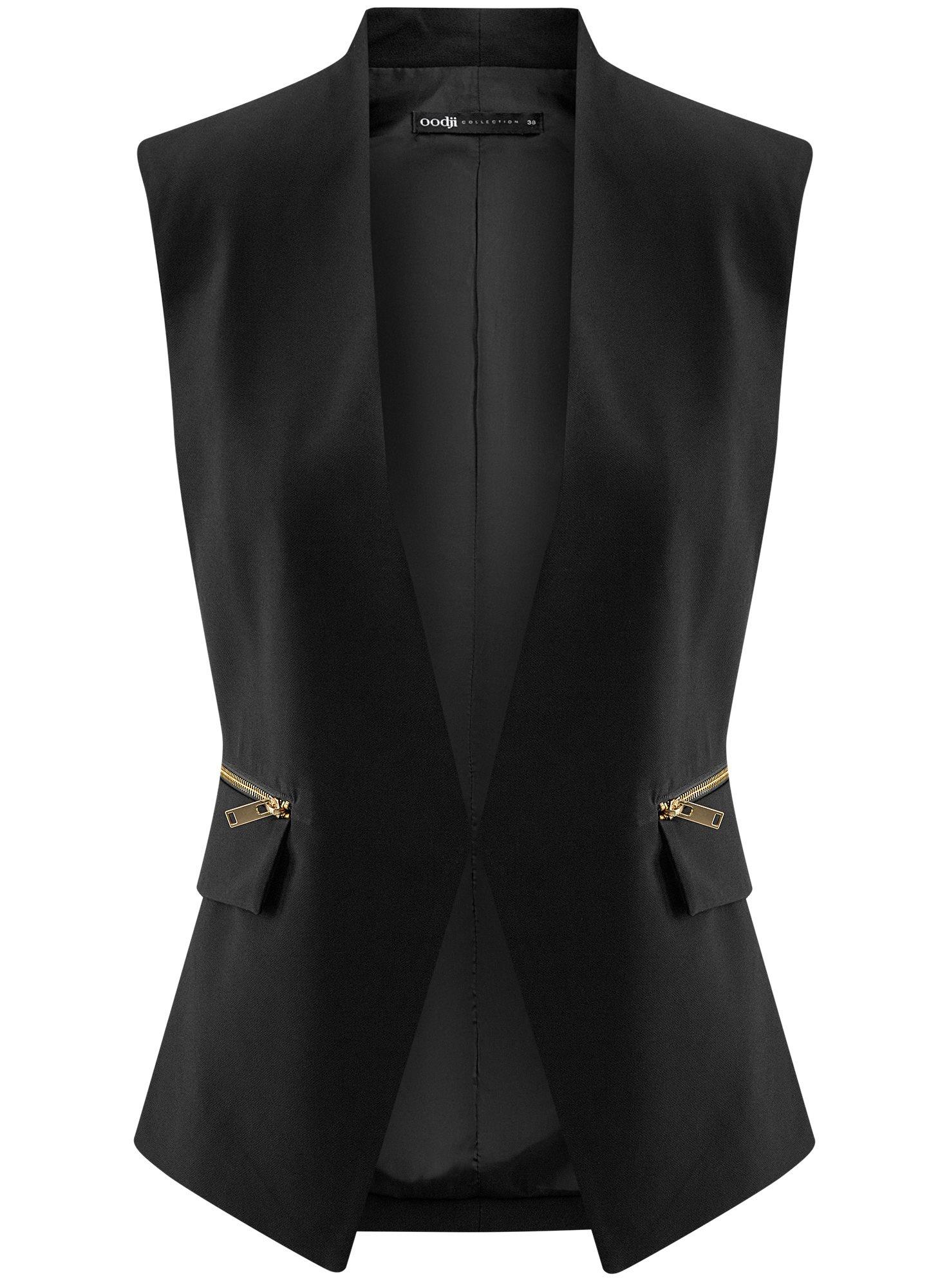 Жилет приталенный с декоративными молниями oodji для женщины (черный), 22300246B/42250/2900N
