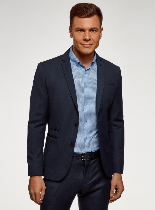 Пиджак базовый приталенный oodji для мужчины (синий), 2B420029M/49270N/7900N