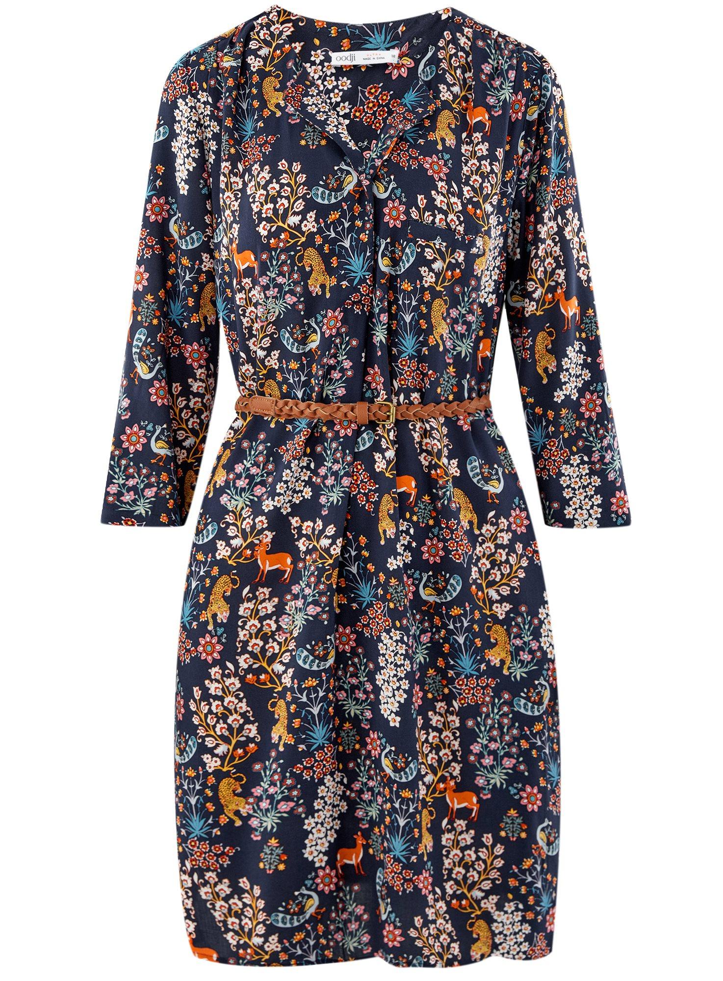Платье вискозное с ремнем oodji для женщины (синий), 11900180B/48458/7919A