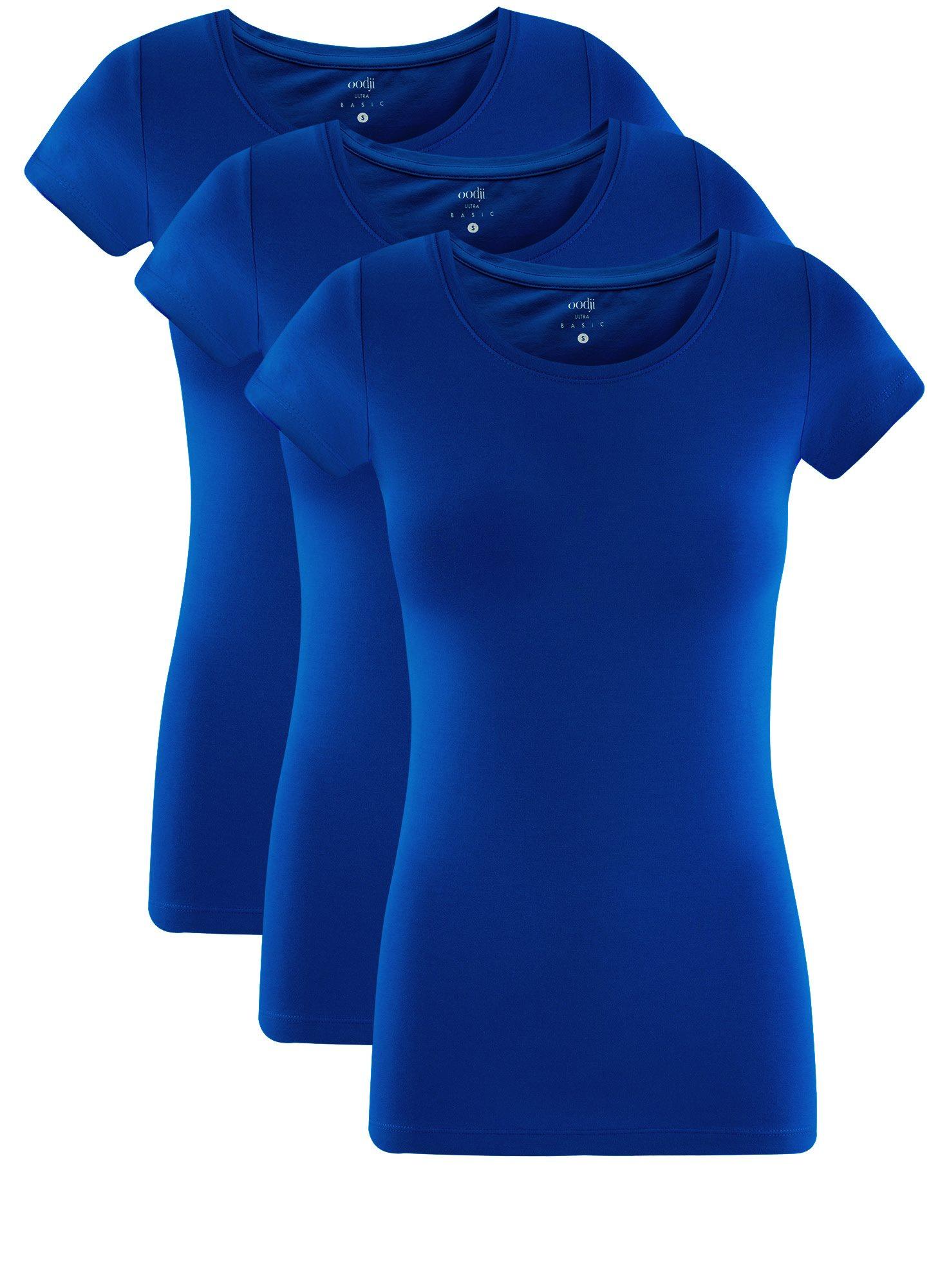 Футболка базовая приталенная (комплект из 3 штук) oodji для женщины (синий), 14701005T3/46147/7500N