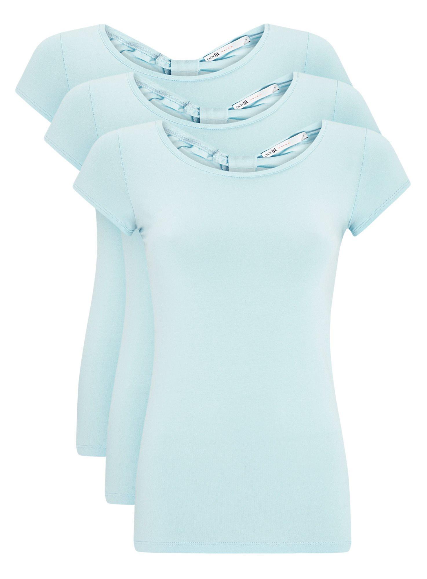Комплект футболок с вырезом-капелькой на спине (3 штуки) oodji для женщины (синий), 14701026T3/46147/7000N