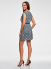 Платье принтованное из вискозы oodji для женщины (синий), 11910073-2/45470/7912F - вид 3