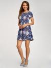 Платье принтованное из вискозы oodji для женщины (синий), 11900191/26346/7970E - вид 6