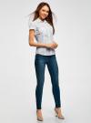 Рубашка базовая с коротким рукавом oodji для женщины (белый), 11402084-5B/45510/1000N - вид 5