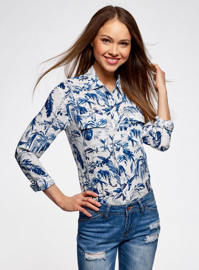 Блузка вискозная с нагрудными карманами oodji для женщины (слоновая кость), 21411115/46436/3079F