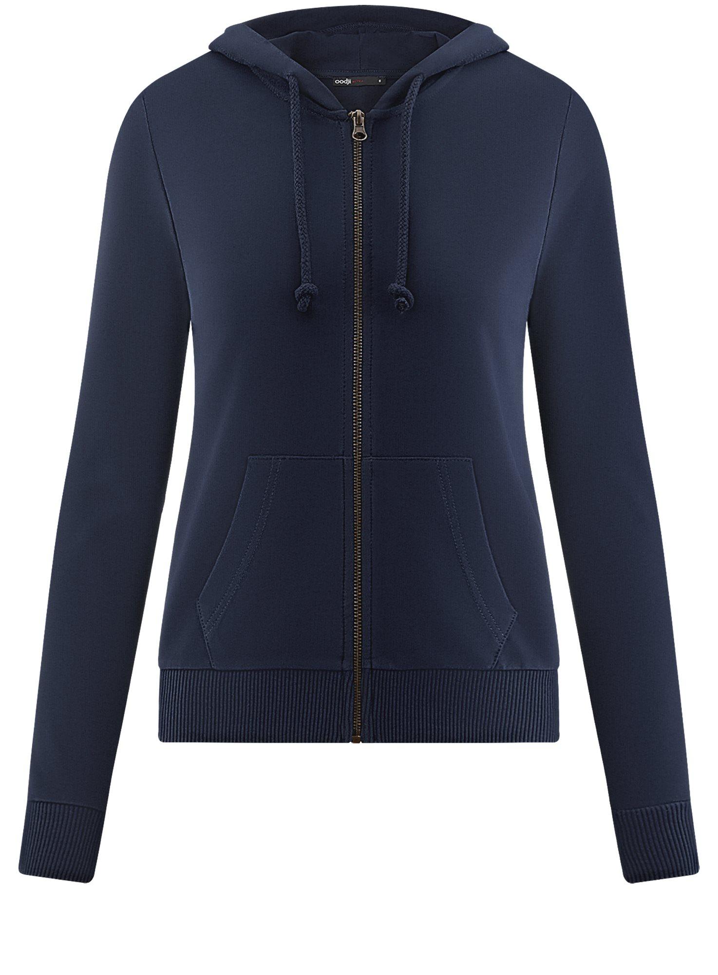 Толстовка на молнии с капюшоном oodji для женщины (синий), 16901079B/35148/7900N