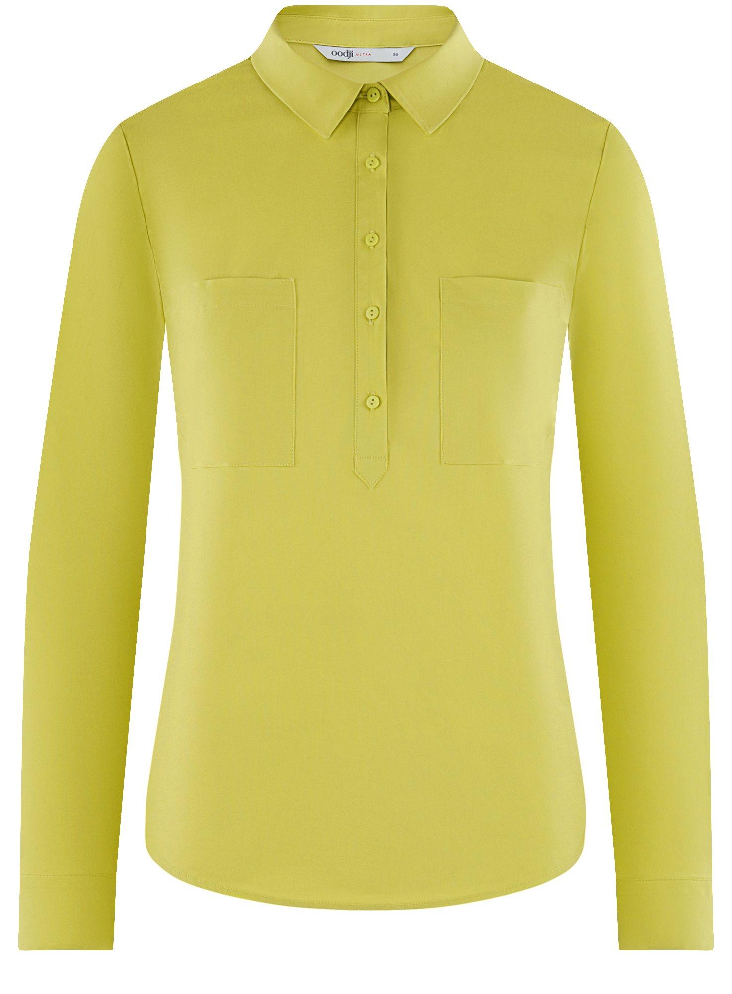 Рубашка базовая с нагрудными карманами oodji для женщины (зеленый), 11403222B/42468/6A01N