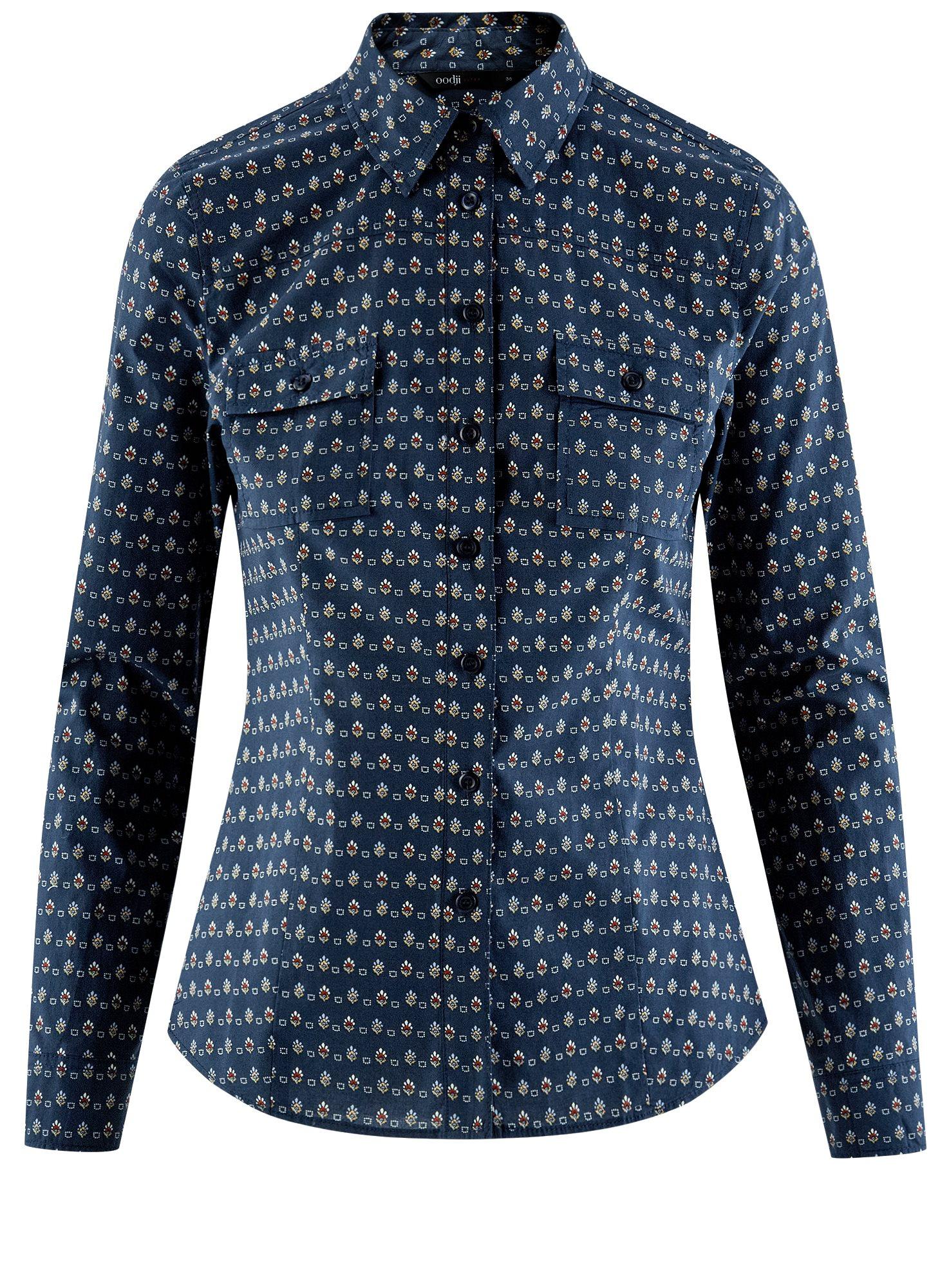 Рубашка базовая из хлопка oodji для женщины (синий), 11442121-5B/43609/7930G
