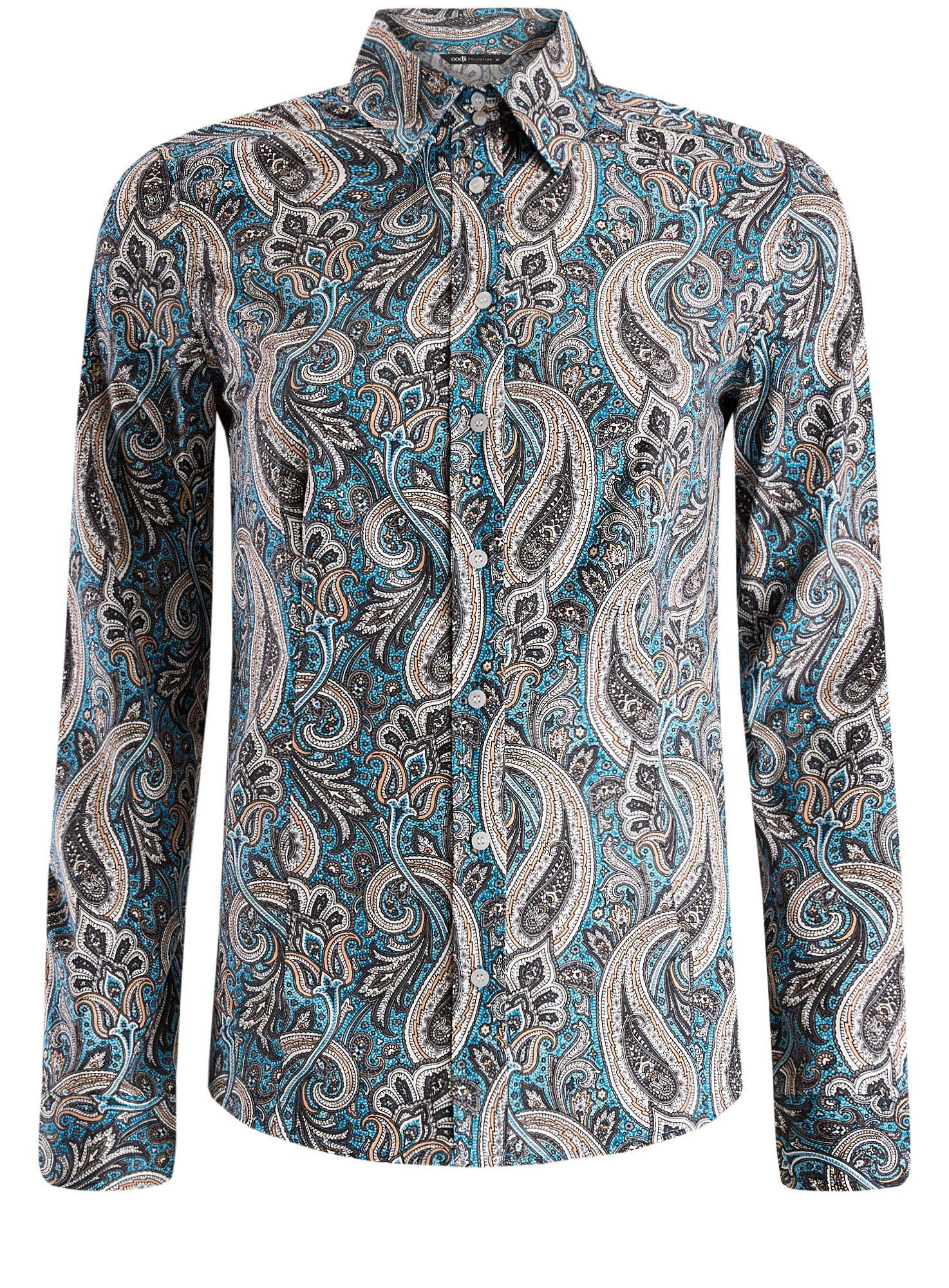 Рубашка приталенная принтованная oodji для женщины (бирюзовый), 21402212/14885/7355E