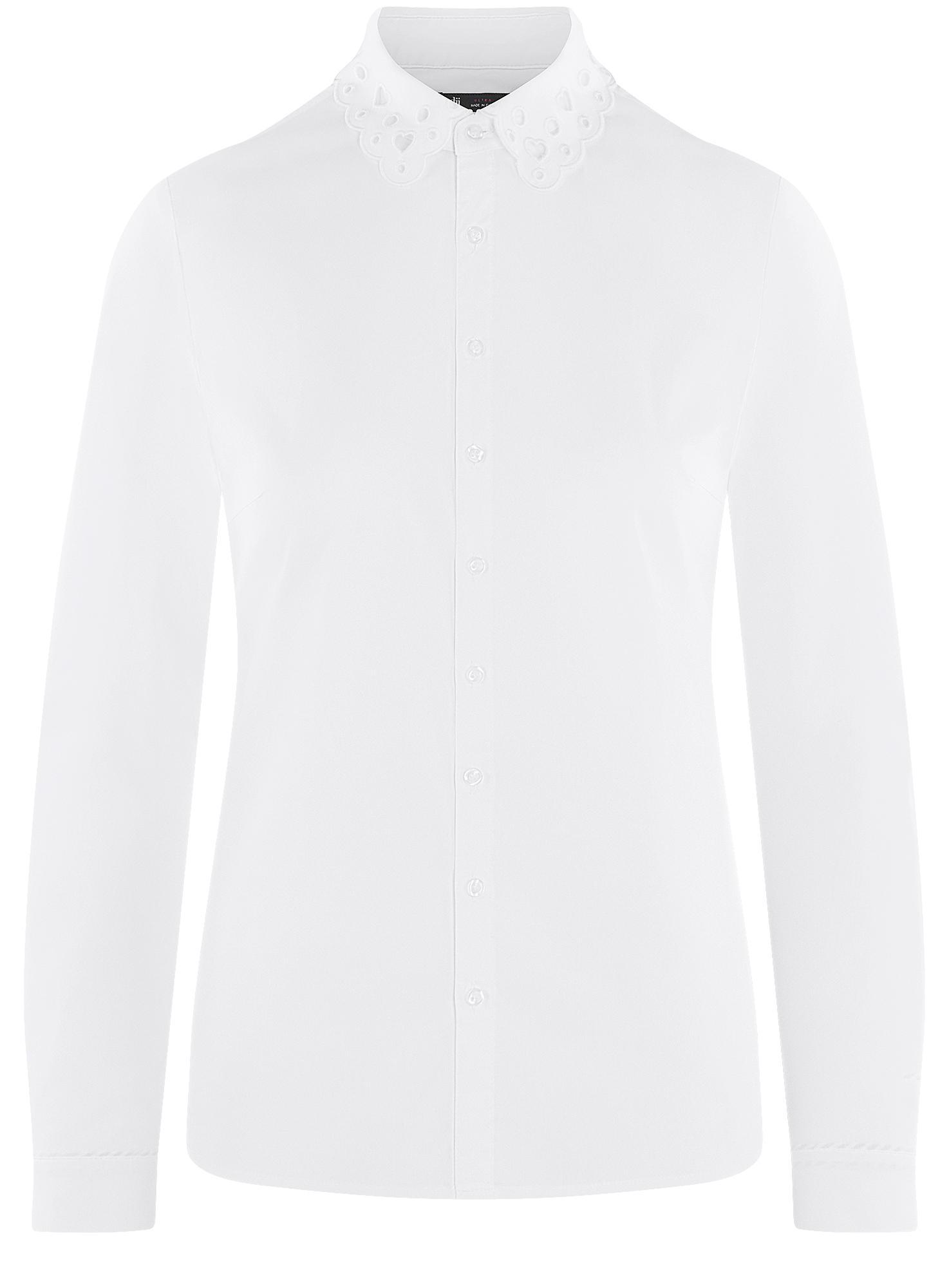 Рубашка с декорированным воротником oodji для женщины (белый), 13K00006/42785/1000N