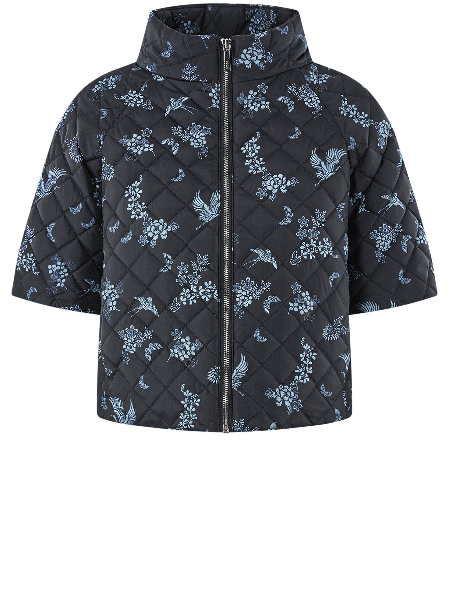 Куртка стеганая принтованная oodji для женщины (черный), 10207002-1/45419/2970F
