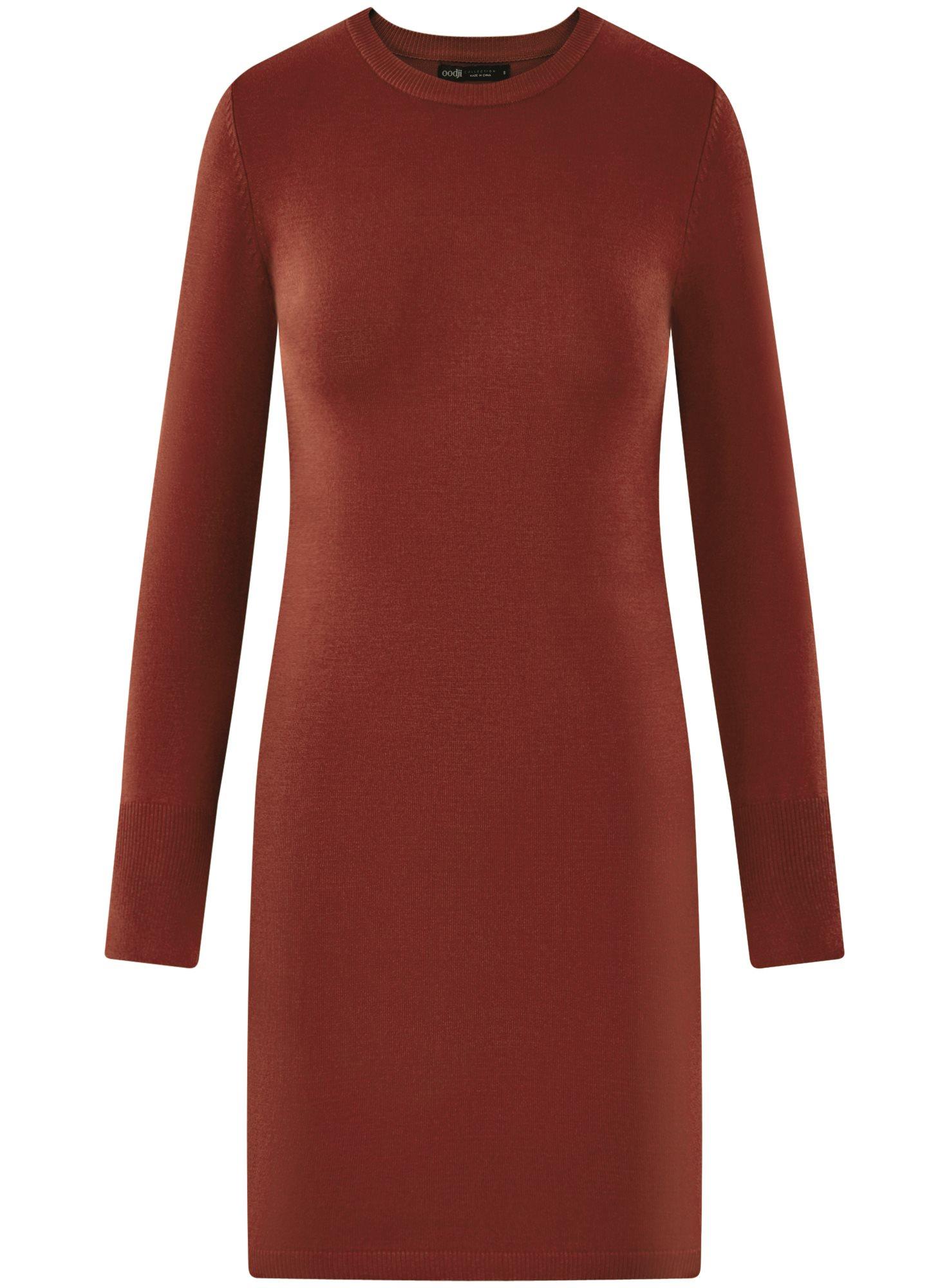 Платье вязаное базовое oodji для женщины (красный), 73912217-2B/33506/4900N