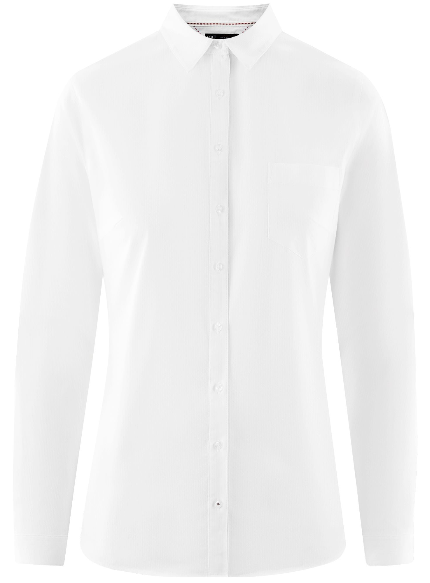 Рубашка хлопковая с нагрудным карманом oodji для женщины (белый), 13K03014/18193/1000B